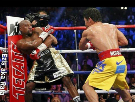 Floyd Mayweather Jr. (L) vs Emmanuel Pacquiao (R) last Saturday, May 2, 2015
