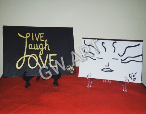 "Acrylic on Canvas Panel PRICE: $1500 (""Live Laugh Love"" on 5*7 inch Canvas) PRICE: $1000 ('Mind Blown' on 4×6inch Canvas)"