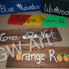 Wooden signs commissioned for Rooms at Kingsworth Hostel