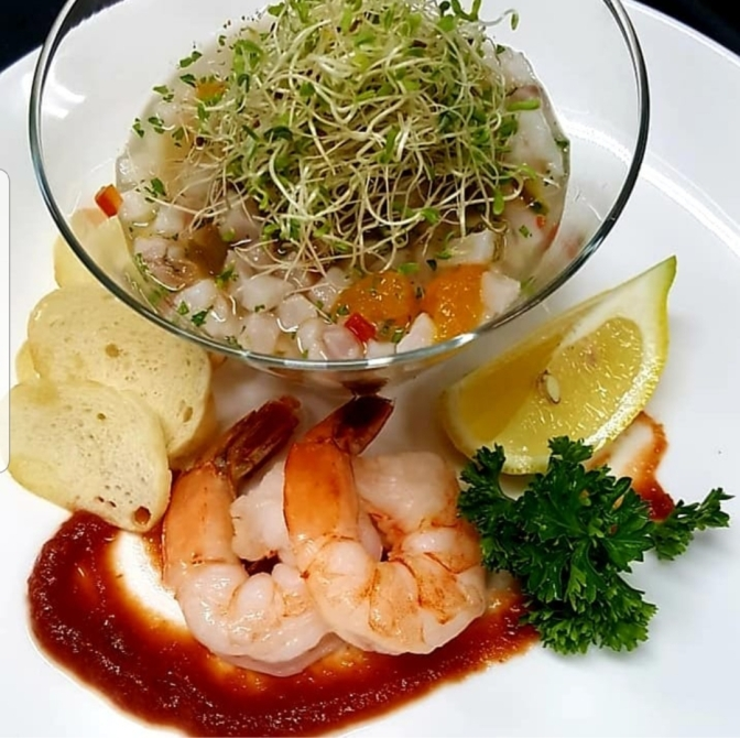 TGIF to this Fish Ceviche and Shrimp Cocktail from Cayman!