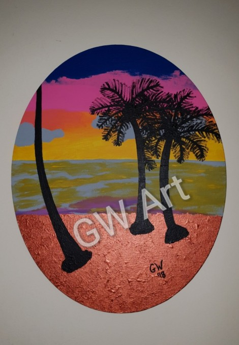 GW Art's 'Island Set'Acryilic on 16*20 Oval Canvas, which was replicated from the original that premiered at the FW Art show on September October 3rd at The Reggae Mill Bar