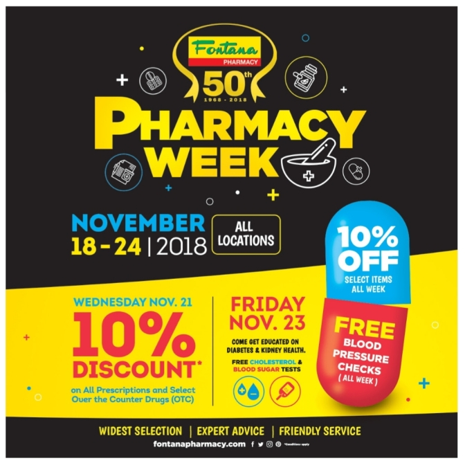 It's Pharmacy Week and Fontana has a SALE and FREE Health Checks!
