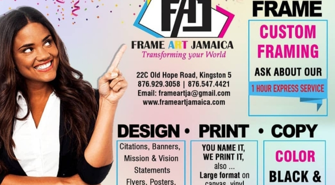 Visit Frame Art Jamaica for Custom Framing of your Loved ones and more!