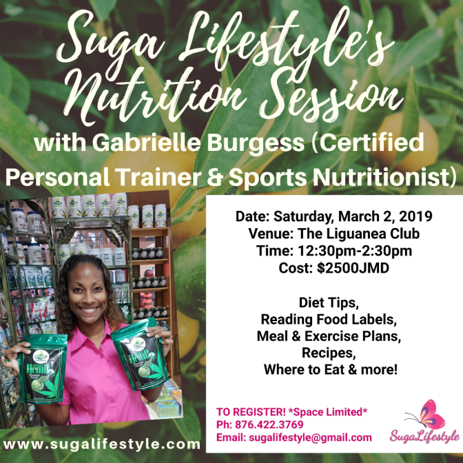 Suga Lifestyle's Nutrition Session returns next Saturday, March 2!