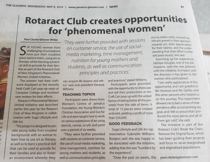 Suga Lifestyle & Rotaract Club of New Kingston's Arts & Entrepreneurship Initiative makes the Paper!