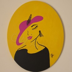 "Acrylic on (16×20)"" Oval Canvas"