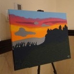 "'HILL VIEW SUNSETS' - Acrylic on (30×24)"" PRICE: $20,000JMD"