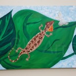 "'OH GECKO' - Acrylic on (100×50)cm / (39.5×~20)"" Canvas"