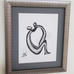 'INSEPARABLE' Framed (8×10)'' Charcoal on Paper PRICE: $16000JMD